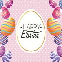 Joyeuses Pâques, étiquette de décoration avec des oeufs de Pâques à l'événement