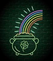 chaudron avec des pièces et étiquette néon arc-en-ciel
