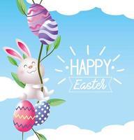 lapin de Pâques avec décoration d'oeufs et de plantes