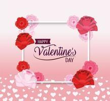 cadre avec décoration de fleurs pour célébrer la saint valentin vecteur