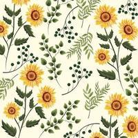 tournesols, plantes, à, branches, feuilles, fond vecteur