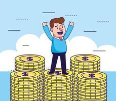 homme avec pièces d'argent comptant à la banque en ligne