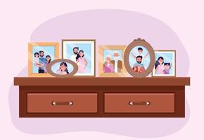 propait avec photos de famille souvenirs dans la commode vecteur
