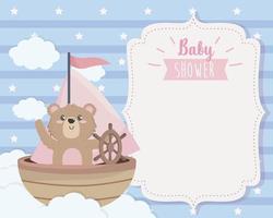 carte d'ours mignon dans le navire et les nuages vecteur