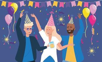 hommes et femme dansant avec décoration de confettis vecteur