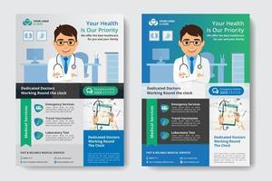 Modèle d'entreprise bleu et vert avec un docteur en bureau vecteur
