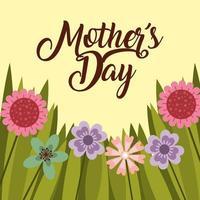 carte de fête des mères avec des fleurs et de l'herbe vecteur