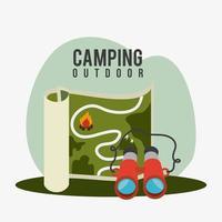 Camping, voyages et vacances vecteur