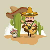 Homme mexicain avec des icônes culturelles