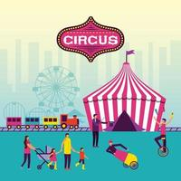 fête du cirque avec famille et artistes vecteur