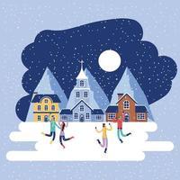 hiver maison gens église maison
