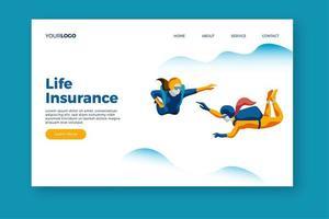Modèle de page de destination d'assurance vie vecteur