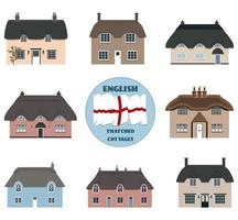 Ensemble de cottages anglais. vecteur