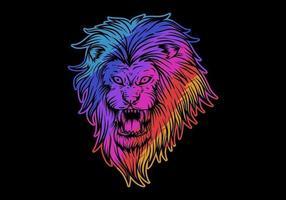 tête de lion coloré en colère
