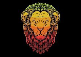 Tête de lion colorée