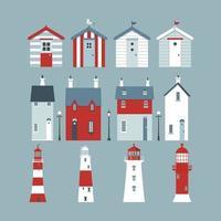 Mer définie avec des cabines de plage, des phares, une bouée de sauvetage, des lampadaires et des petits pavillons. vecteur