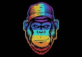 tête de singe souriant colorée vecteur