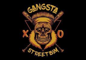 crâne devant des chauves-souris croisées avec texte de garçon de rue gangsta vecteur