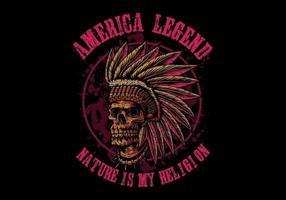 Crâne légende amérindienne vecteur