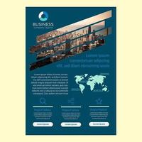 Conception de brochure d'entreprise bleue avec découpe à rayures diagonales vecteur