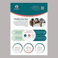 Modèle de Brochure colorée et arrondie à une page vecteur