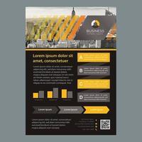Brochure commerciale jaune-noir avec lignes de dégradé
