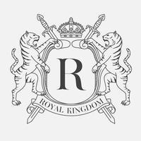 Emblème de la famille du bouclier héraldique avec deux tigres vecteur