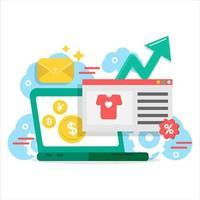 Ordinateur portable de marketing numérique avec éléments de griffonnage