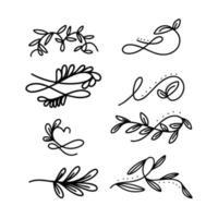 Collection d'ornements floraux Doodle vecteur