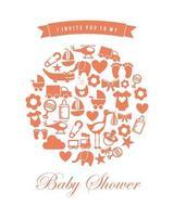 jeu d'icônes de douche de bébé vecteur