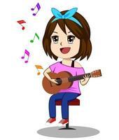 Jolie fille jouant de la guitare vecteur