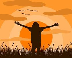 Femme qui est debout étendre les bras se sentir libéré