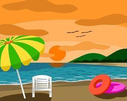 Plage avec parasol et chaise au coucher du soleil, bonne ambiance. vecteur