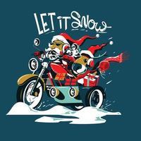 Le Père Noël et les cerfs conduisent la moto le soir de Noël