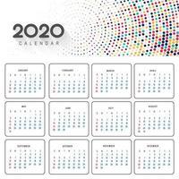 Beau calendrier 2020 en design pointillé coloré