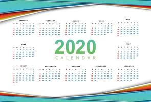 Modèle de calendrier Clean 2020 beau vecteur de conception de vague