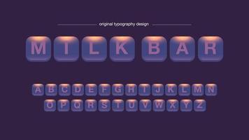 Conception de typographie abstraite arrondie boutons carrés