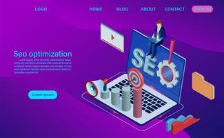 Concept d'optimisation SEO. Modèle de page de destination du moteur de recherche vecteur