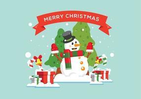 Fond de bonhomme de neige de Noël avec des cadeaux