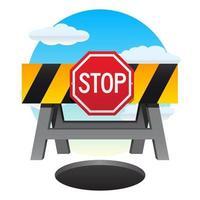 Panneau d'arrêt et barrière