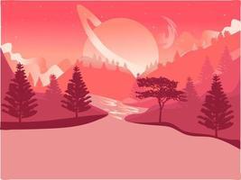 Planète rose ou lune sur un coucher de soleil. Paysage futuriste naturel