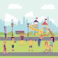 parc de personnes et ville