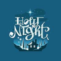 Nuit sacrée scène de Noël enneigé