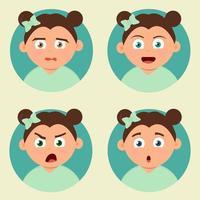 Vecteur d'expressions fille kid
