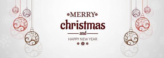 Bannière horizontale avec fond de vecteur de carte de Noël
