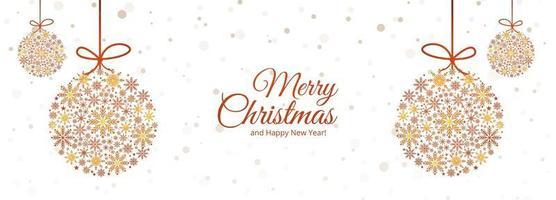 conception de bannière de boule de Noël de flocons de neige décoratifs