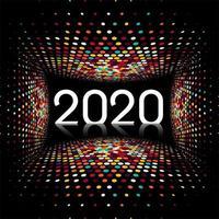Nouvel An créatif 2020 texte design lumière disco