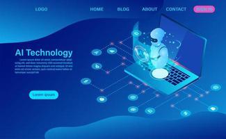 technologie d'intelligence artificielle robotique dans un logiciel informatique vecteur