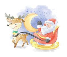 Père Noël en traîneau avec cerf vecteur