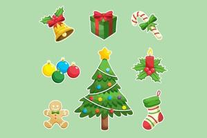 Ensemble de décorations de Noël vecteur